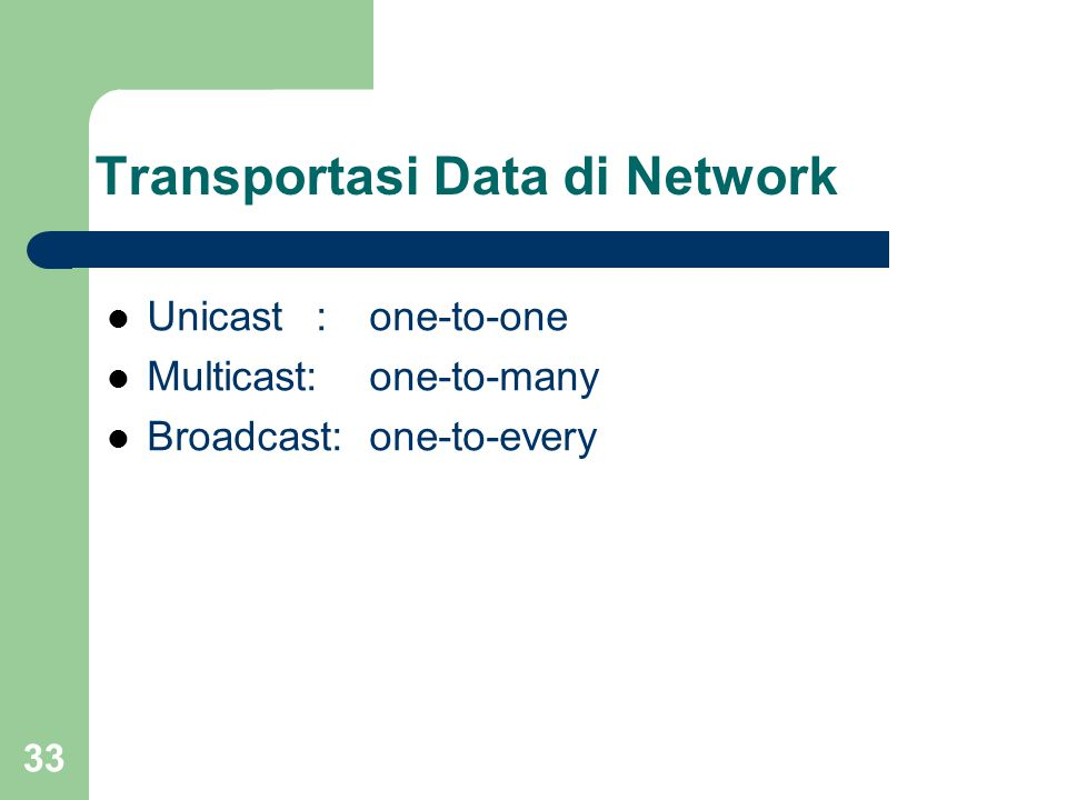 33 Transportasi Data di Network  Unicast:one-to-one  Multicast:one-to-many  Broadcast:one-to-every