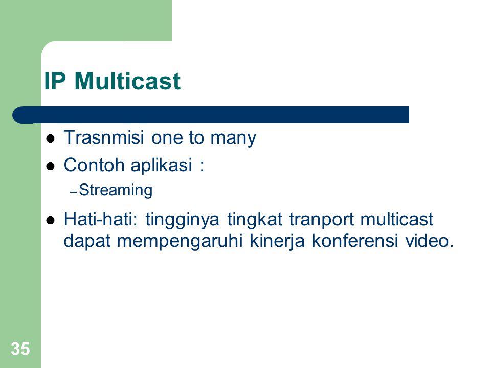 35 IP Multicast  Trasnmisi one to many  Contoh aplikasi : – Streaming  Hati-hati: tingginya tingkat tranport multicast dapat mempengaruhi kinerja konferensi video.