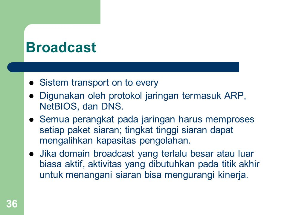 36 Broadcast  Sistem transport on to every  Digunakan oleh protokol jaringan termasuk ARP, NetBIOS, dan DNS.