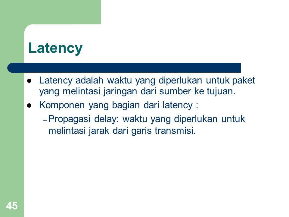 45 Latency  Latency adalah waktu yang diperlukan untuk paket yang melintasi jaringan dari sumber ke tujuan.  Komponen yang bagian dari latency : – P