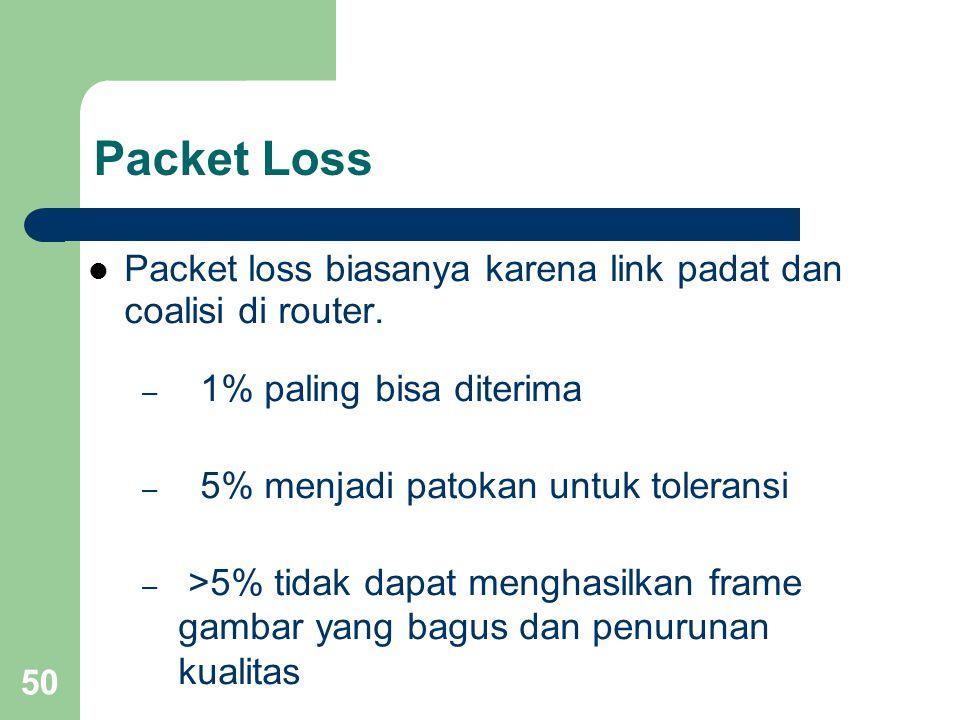 50 Packet Loss  Packet loss biasanya karena link padat dan coalisi di router. – 1% paling bisa diterima – 5% menjadi patokan untuk toleransi – >5% ti