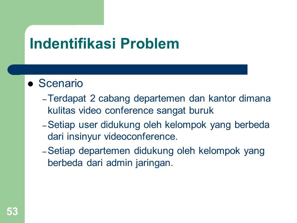53 Indentifikasi Problem  Scenario – Terdapat 2 cabang departemen dan kantor dimana kulitas video conference sangat buruk – Setiap user didukung oleh
