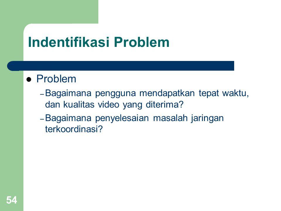 54 Indentifikasi Problem  Problem – Bagaimana pengguna mendapatkan tepat waktu, dan kualitas video yang diterima? – Bagaimana penyelesaian masalah ja