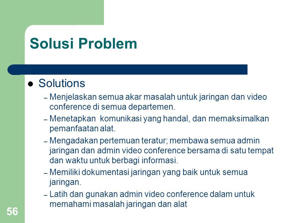 56 Solusi Problem  Solutions – Menjelaskan semua akar masalah untuk jaringan dan video conference di semua departemen. – Menetapkan komunikasi yang h