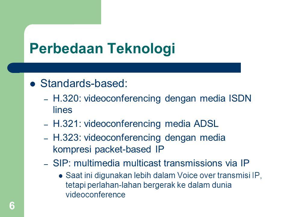 6 Perbedaan Teknologi  Standards-based: – H.320: videoconferencing dengan media ISDN lines – H.321: videoconferencing media ADSL – H.323: videoconferencing dengan media kompresi packet-based IP – SIP: multimedia multicast transmissions via IP  Saat ini digunakan lebih dalam Voice over transmisi IP, tetapi perlahan-lahan bergerak ke dalam dunia videoconference