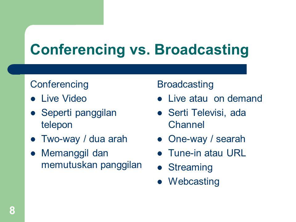 8 Conferencing vs. Broadcasting Conferencing  Live Video  Seperti panggilan telepon  Two-way / dua arah  Memanggil dan memutuskan panggilan Broadc