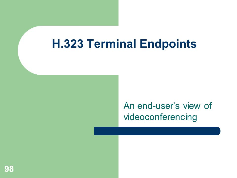 An end-user's view of videoconferencing H.323 Terminal Endpoints 98