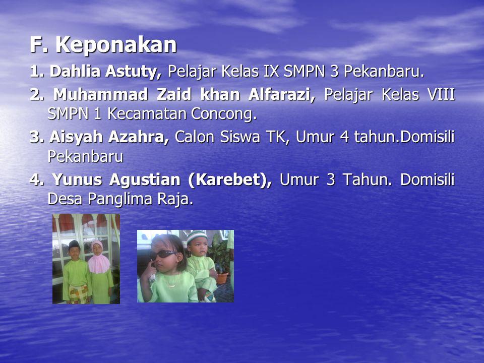 F.Keponakan 1. Dahlia Astuty, Pelajar Kelas IX SMPN 3 Pekanbaru.