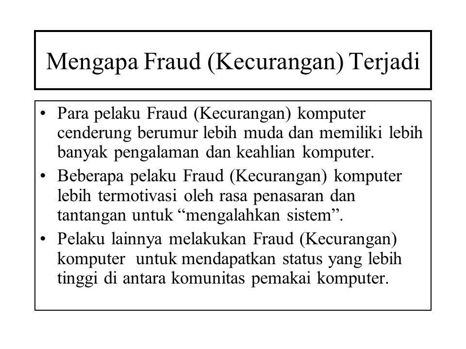 Mengapa Fraud (Kecurangan) Terjadi •Para pelaku Fraud (Kecurangan) komputer cenderung berumur lebih muda dan memiliki lebih banyak pengalaman dan keah