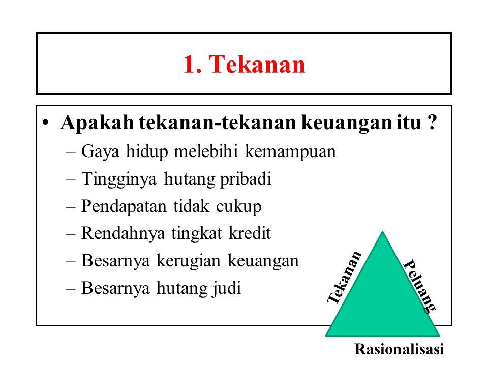 1. Tekanan •Apakah tekanan-tekanan keuangan itu ? –Gaya hidup melebihi kemampuan –Tingginya hutang pribadi –Pendapatan tidak cukup –Rendahnya tingkat