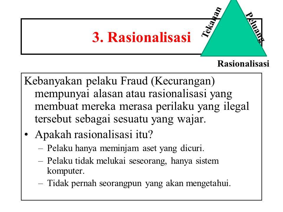 3. Rasionalisasi Kebanyakan pelaku Fraud (Kecurangan) mempunyai alasan atau rasionalisasi yang membuat mereka merasa perilaku yang ilegal tersebut seb