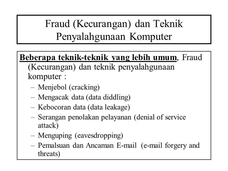 Fraud (Kecurangan) dan Teknik Penyalahgunaan Komputer Beberapa teknik-teknik yang lebih umum, Fraud (Kecurangan) dan teknik penyalahgunaan komputer : –Menjebol (cracking) –Mengacak data (data diddling) –Kebocoran data (data leakage) –Serangan penolakan pelayanan (denial of service attack) –Menguping (eavesdropping) –Pemalsuan dan Ancaman E-mail (e-mail forgery and threats)