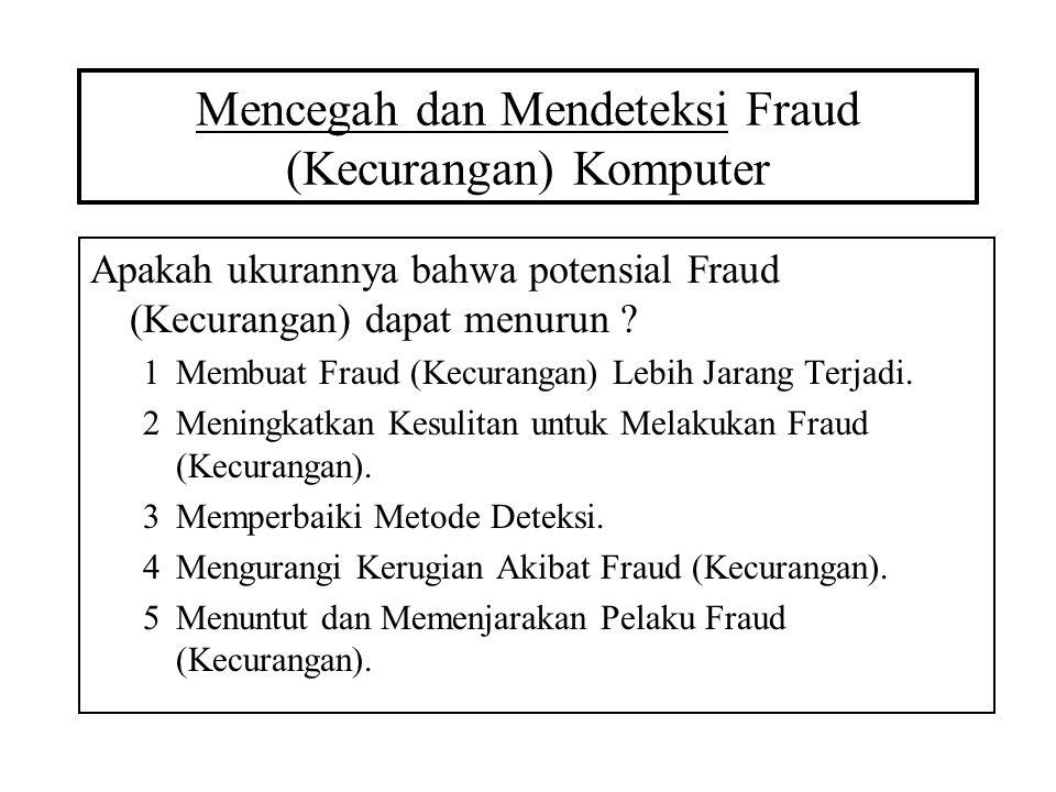Mencegah dan Mendeteksi Fraud (Kecurangan) Komputer Apakah ukurannya bahwa potensial Fraud (Kecurangan) dapat menurun ? 1Membuat Fraud (Kecurangan) Le