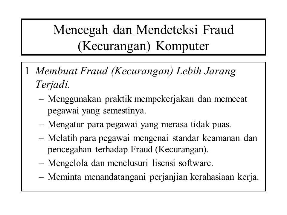 Mencegah dan Mendeteksi Fraud (Kecurangan) Komputer 1Membuat Fraud (Kecurangan) Lebih Jarang Terjadi. –Menggunakan praktik mempekerjakan dan memecat p
