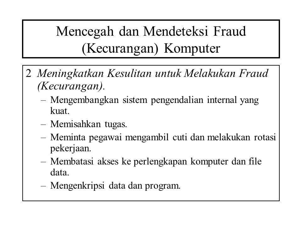 Mencegah dan Mendeteksi Fraud (Kecurangan) Komputer 2Meningkatkan Kesulitan untuk Melakukan Fraud (Kecurangan). –Mengembangkan sistem pengendalian int
