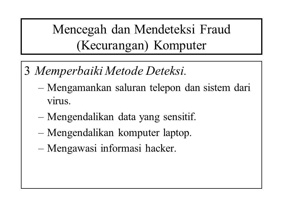 Mencegah dan Mendeteksi Fraud (Kecurangan) Komputer 3Memperbaiki Metode Deteksi. –Mengamankan saluran telepon dan sistem dari virus. –Mengendalikan da
