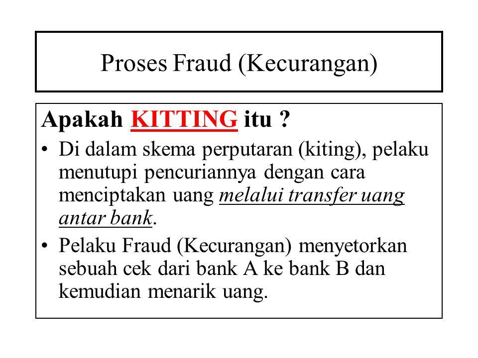Proses Fraud (Kecurangan) •Ketika ada dana di bank A tidak cukup untuk menutup cek, maka pelaku memasukkan cek dari bank C ke bank A sebelum ceknya ke bank B dikliring.