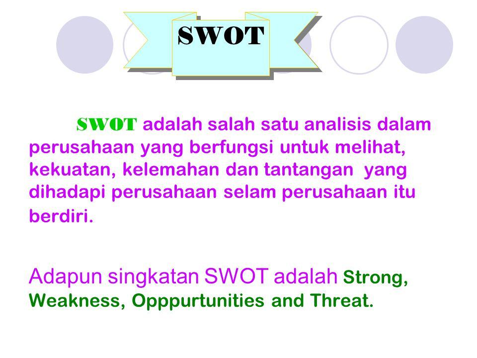 SWOT adalah salah satu analisis dalam perusahaan yang berfungsi untuk melihat, kekuatan, kelemahan dan tantangan yang dihadapi perusahaan selam perusahaan itu berdiri.
