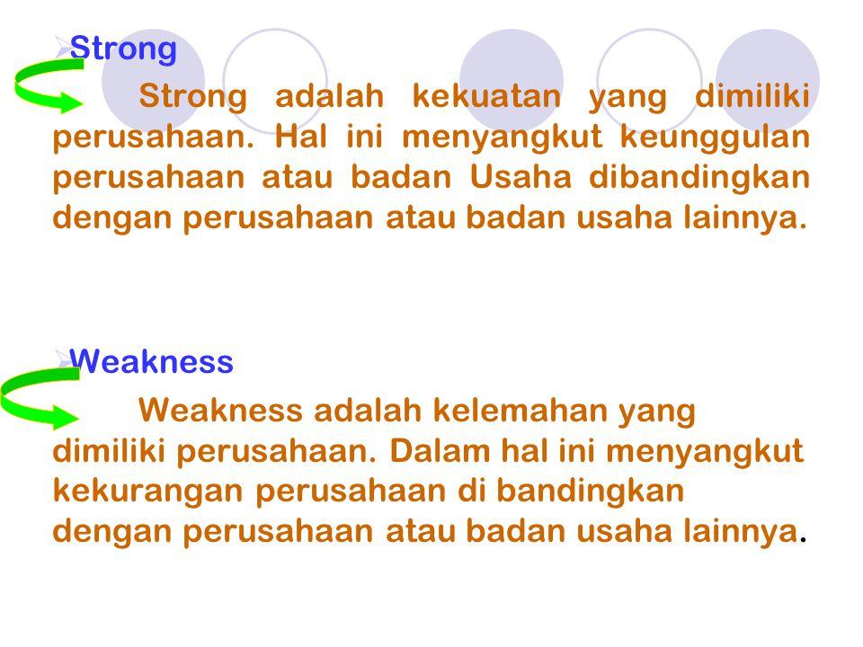  Strong Strong adalah kekuatan yang dimiliki perusahaan.