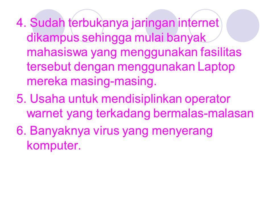 4. Sudah terbukanya jaringan internet dikampus sehingga mulai banyak mahasiswa yang menggunakan fasilitas tersebut dengan menggunakan Laptop mereka ma