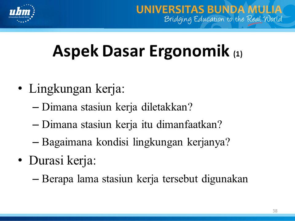 39 Aspek Dasar Ergonomik (2) • Tipe pekerjaan: – Bagaimana pekerjaan diselesaikan dalam arti persepsi dan kebutuhan motorik.
