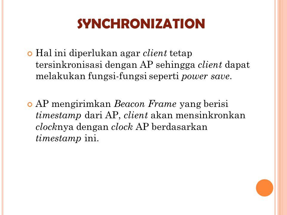 SYNCHRONIZATION Hal ini diperlukan agar client tetap tersinkronisasi dengan AP sehingga client dapat melakukan fungsi-fungsi seperti power save. AP me