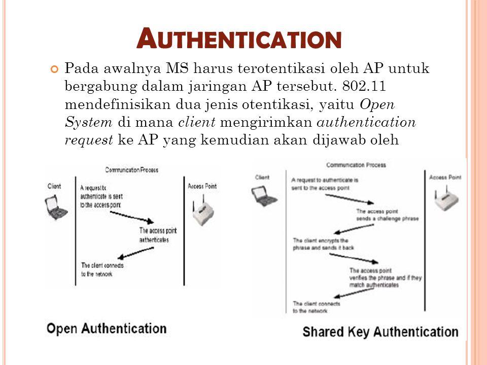 A UTHENTICATION Pada awalnya MS harus terotentikasi oleh AP untuk bergabung dalam jaringan AP tersebut. 802.11 mendefinisikan dua jenis otentikasi, ya