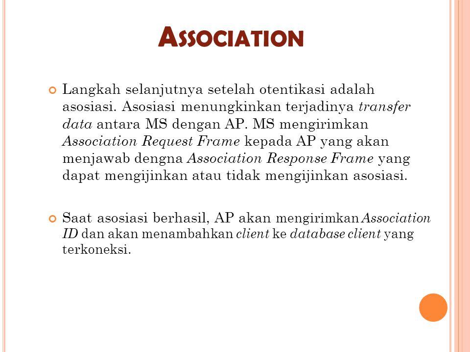 A SSOCIATION Langkah selanjutnya setelah otentikasi adalah asosiasi. Asosiasi menungkinkan terjadinya transfer data antara MS dengan AP. MS mengirimka