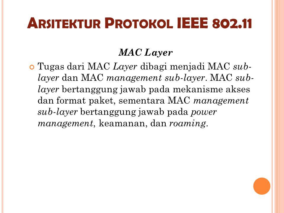 A RSITEKTUR P ROTOKOL IEEE 802.11 MAC Layer Tugas dari MAC Layer dibagi menjadi MAC sub- layer dan MAC management sub-layer. MAC sub- layer bertanggun