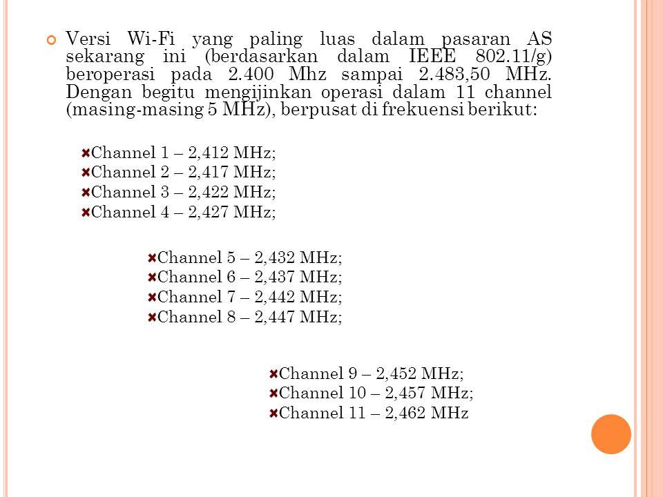 Versi Wi-Fi yang paling luas dalam pasaran AS sekarang ini (berdasarkan dalam IEEE 802.11/g) beroperasi pada 2.400 Mhz sampai 2.483,50 MHz. Dengan beg