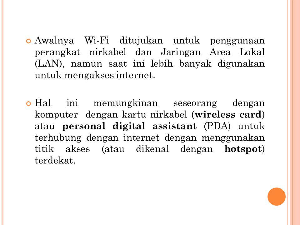 Awalnya Wi-Fi ditujukan untuk penggunaan perangkat nirkabel dan Jaringan Area Lokal (LAN), namun saat ini lebih banyak digunakan untuk mengakses inter