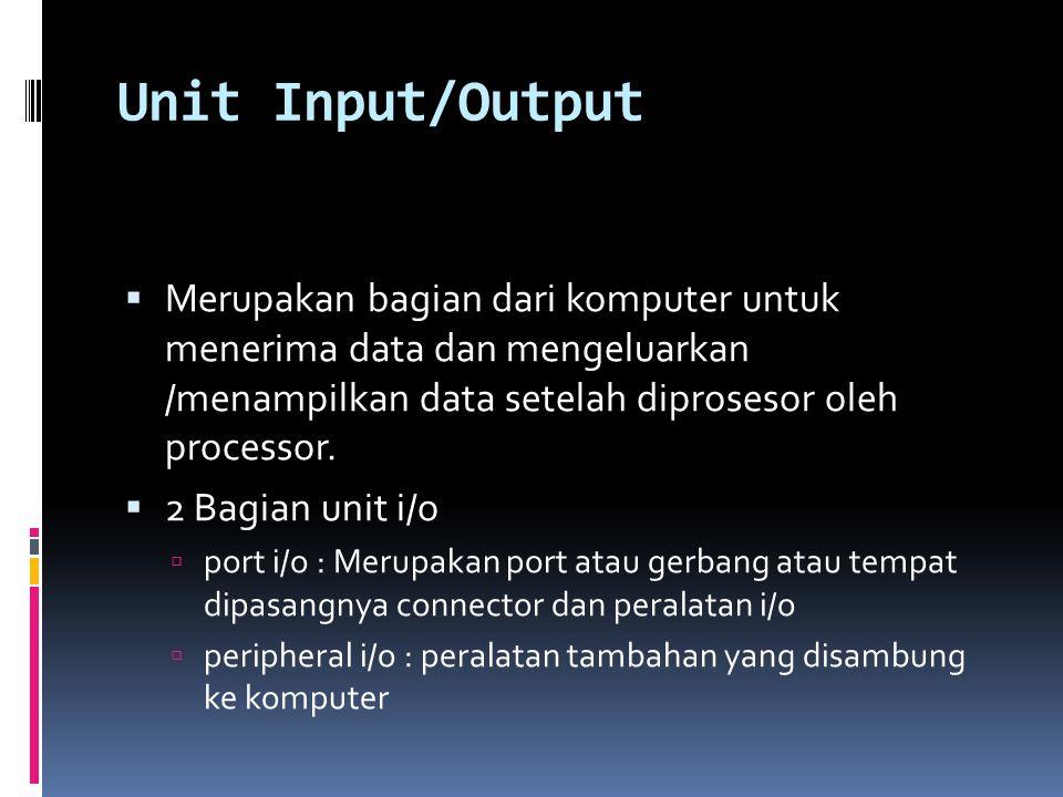 Unit Input/Output  Merupakan bagian dari komputer untuk menerima data dan mengeluarkan /menampilkan data setelah diprosesor oleh processor.  2 Bagia