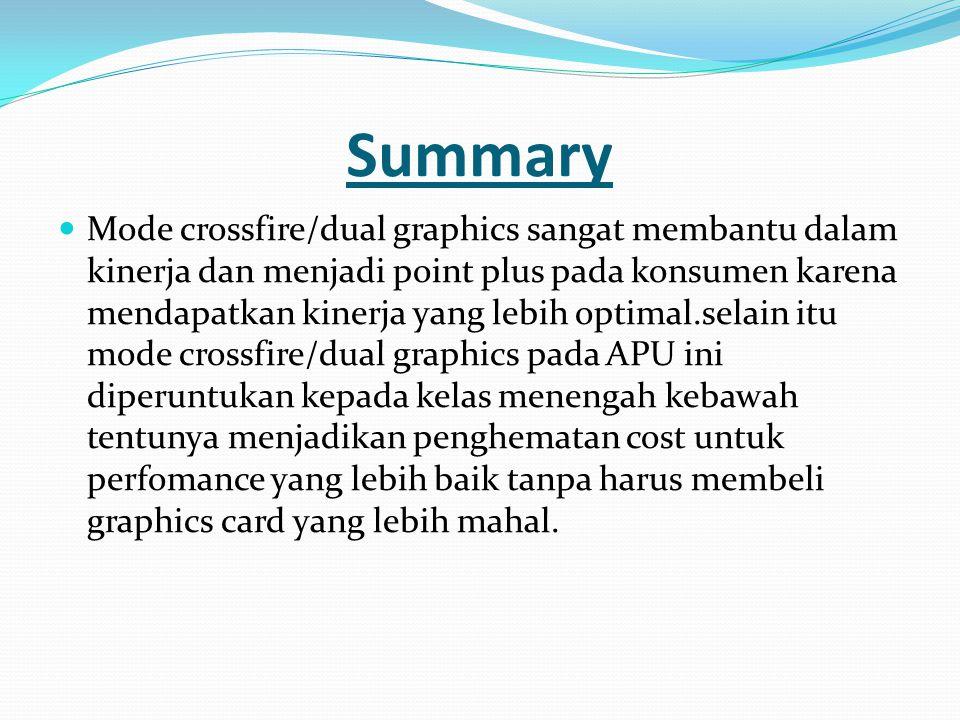 Summary  Mode crossfire/dual graphics sangat membantu dalam kinerja dan menjadi point plus pada konsumen karena mendapatkan kinerja yang lebih optima