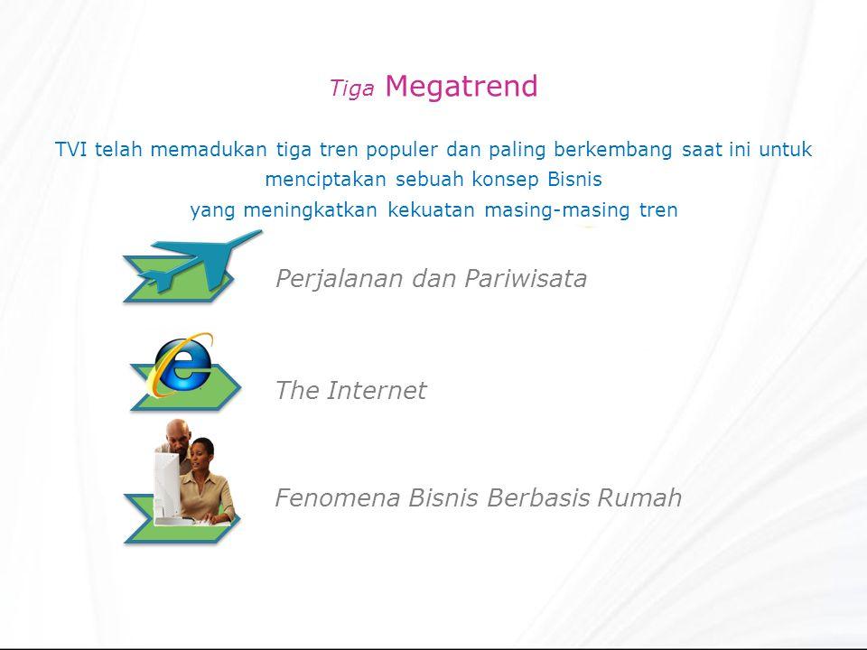 Tiga Megatrend TVI telah memadukan tiga tren populer dan paling berkembang saat ini untuk menciptakan sebuah konsep Bisnis yang meningkatkan kekuatan masing-masing tren Perjalanan dan Pariwisata The Internet Fenomena Bisnis Berbasis Rumah