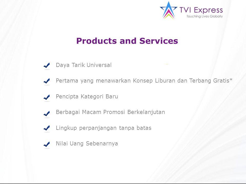 Products and Services Daya Tarik Universal Pertama yang menawarkan Konsep Liburan dan Terbang Gratis* Pencipta Kategori Baru Berbagai Macam Promosi Berkelanjutan Lingkup perpanjangan tanpa batas Nilai Uang Sebenarnya