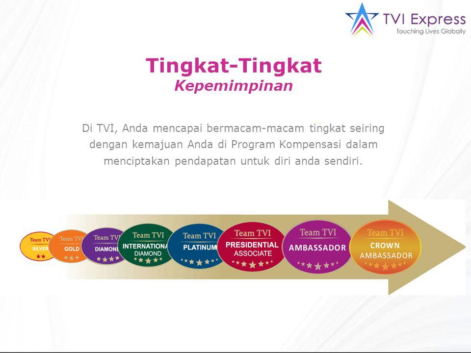Tingkat-Tingkat Kepemimpinan Di TVI, Anda mencapai bermacam-macam tingkat seiring dengan kemajuan Anda di Program Kompensasi dalam menciptakan pendapatan untuk diri anda sendiri.