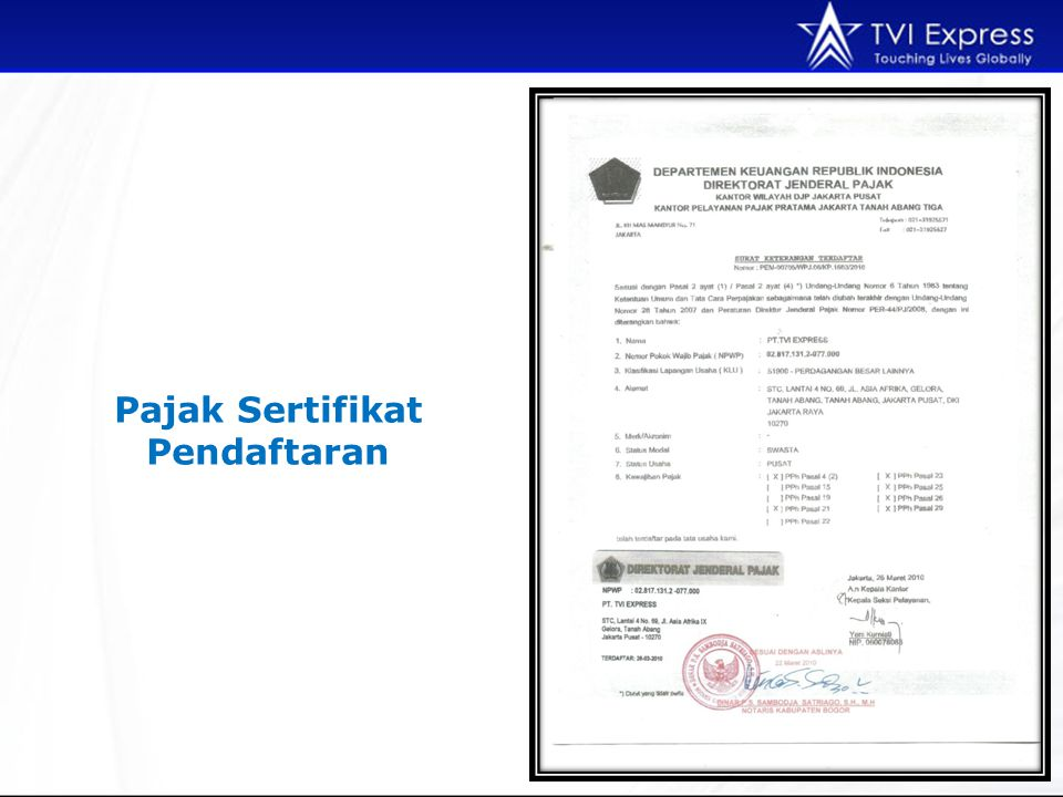 Pajak Sertifikat Pendaftaran