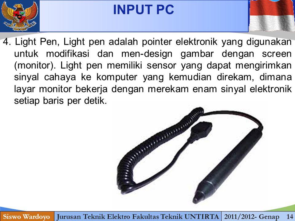 www.themegallery.com INPUT PC Siswo WardoyoJurusan Teknik Elektro Fakultas Teknik UNTIRTA2011/2012- Genap 14 4.