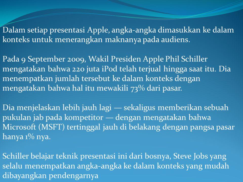 Dalam setiap presentasi Apple, angka-angka dimasukkan ke dalam konteks untuk menerangkan maknanya pada audiens. Pada 9 September 2009, Wakil Presiden