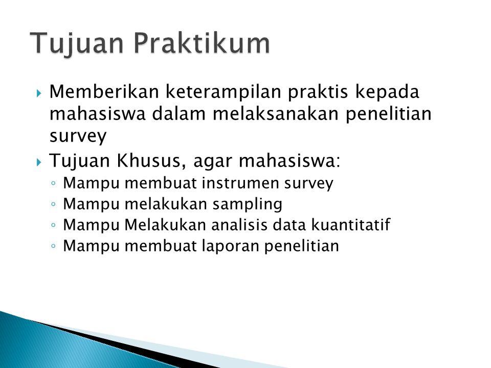  Memberikan keterampilan praktis kepada mahasiswa dalam melaksanakan penelitian survey  Tujuan Khusus, agar mahasiswa: ◦ Mampu membuat instrumen survey ◦ Mampu melakukan sampling ◦ Mampu Melakukan analisis data kuantitatif ◦ Mampu membuat laporan penelitian