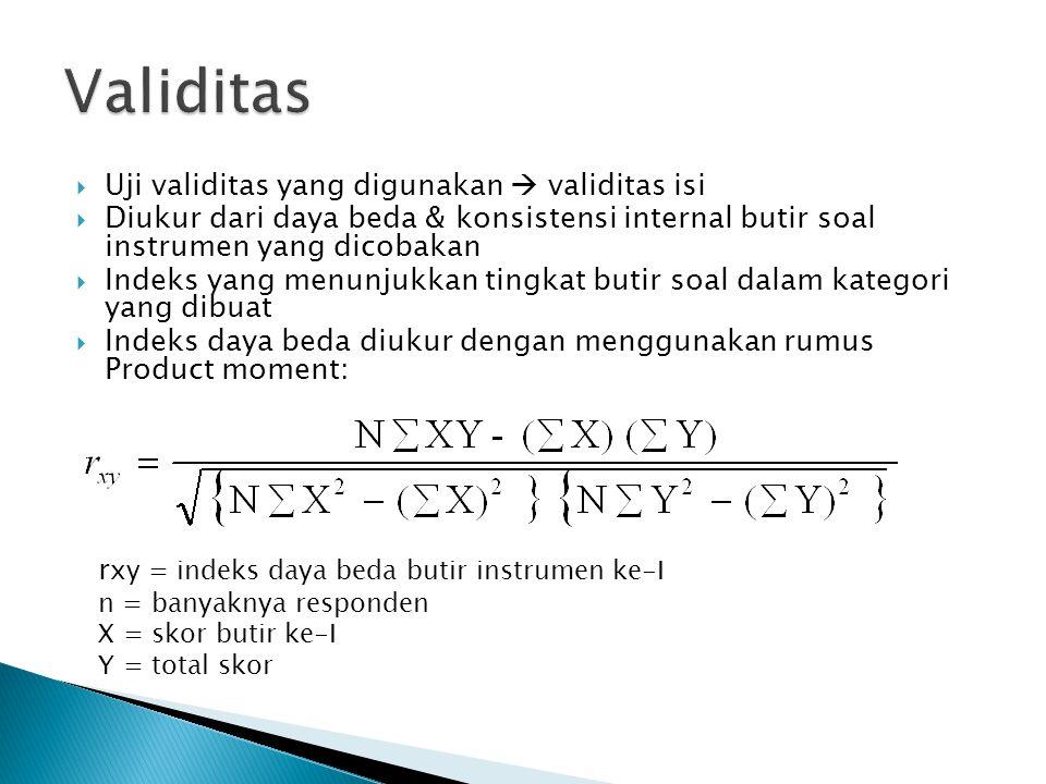  Uji validitas yang digunakan  validitas isi  Diukur dari daya beda & konsistensi internal butir soal instrumen yang dicobakan  Indeks yang menunjukkan tingkat butir soal dalam kategori yang dibuat  Indeks daya beda diukur dengan menggunakan rumus Product moment: r xy = indeks daya beda butir instrumen ke-I n = banyaknya responden X = skor butir ke-I Y = total skor