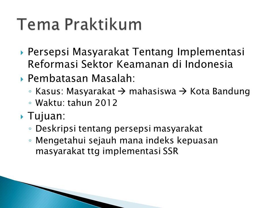  Persepsi Masyarakat Tentang Implementasi Reformasi Sektor Keamanan di Indonesia  Pembatasan Masalah: ◦ Kasus: Masyarakat  mahasiswa  Kota Bandung