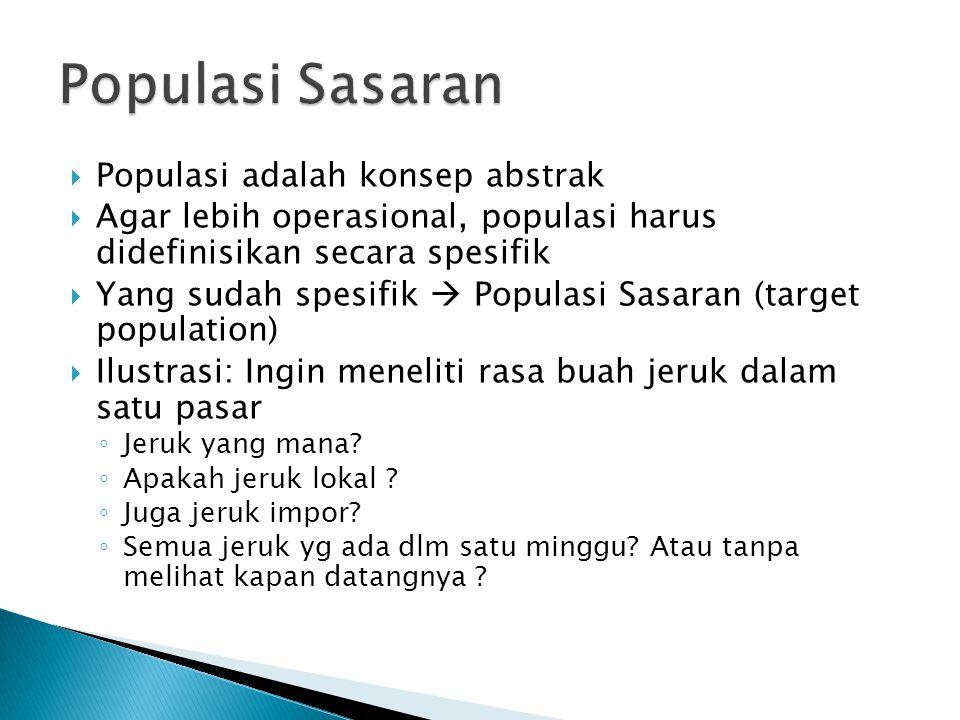  Populasi adalah konsep abstrak  Agar lebih operasional, populasi harus didefinisikan secara spesifik  Yang sudah spesifik  Populasi Sasaran (targ