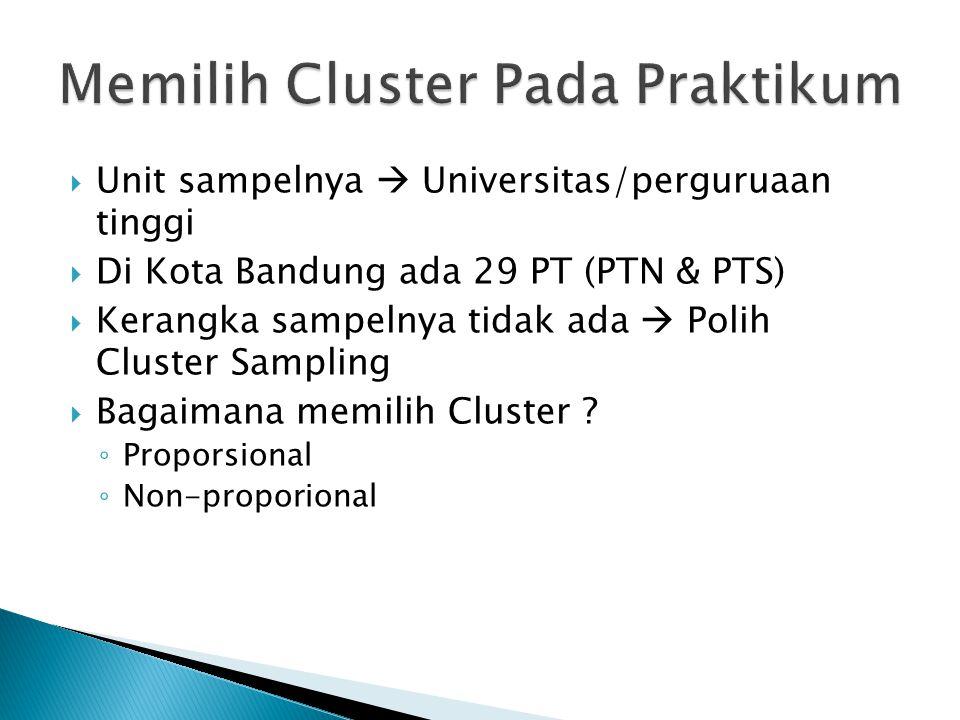  Unit sampelnya  Universitas/perguruaan tinggi  Di Kota Bandung ada 29 PT (PTN & PTS)  Kerangka sampelnya tidak ada  Polih Cluster Sampling  Bagaimana memilih Cluster .