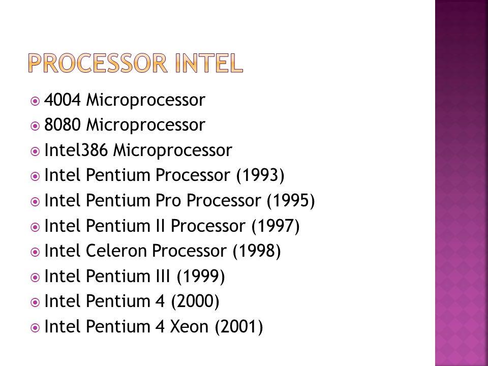 4004 Microprocessor  8080 Microprocessor  Intel386 Microprocessor  Intel Pentium Processor (1993)  Intel Pentium Pro Processor (1995)  Intel Pentium II Processor (1997)  Intel Celeron Processor (1998)  Intel Pentium III (1999)  Intel Pentium 4 (2000)  Intel Pentium 4 Xeon (2001)