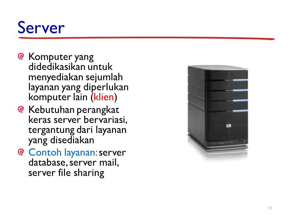 Server Komputer yang didedikasikan untuk menyediakan sejumlah layanan yang diperlukan komputer lain (klien) Kebutuhan perangkat keras server bervarias