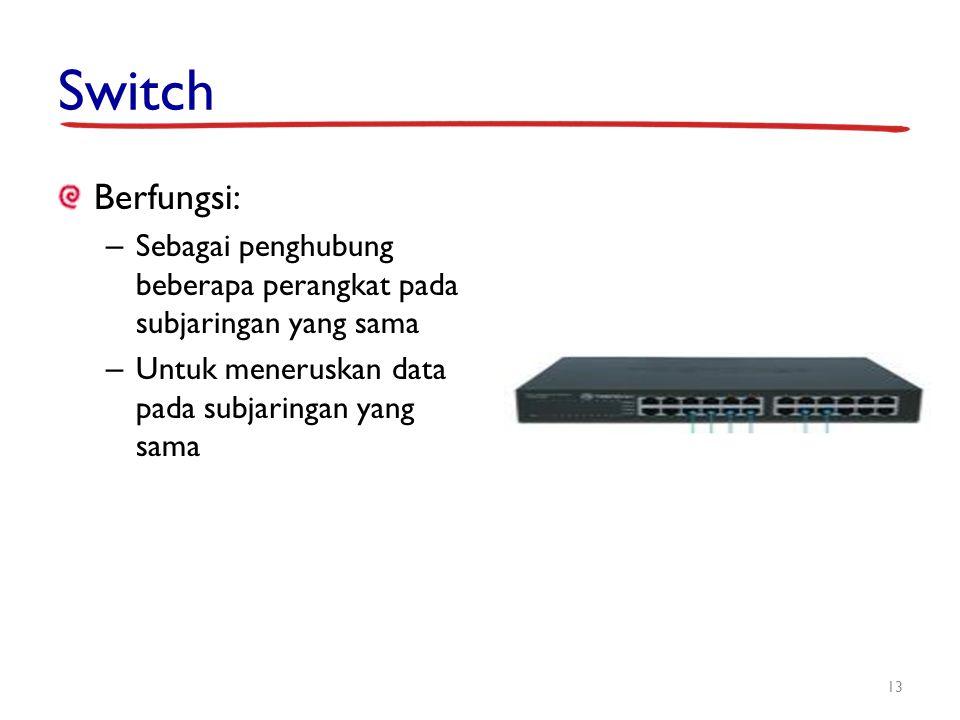 Switch Berfungsi: – Sebagai penghubung beberapa perangkat pada subjaringan yang sama – Untuk meneruskan data pada subjaringan yang sama 13