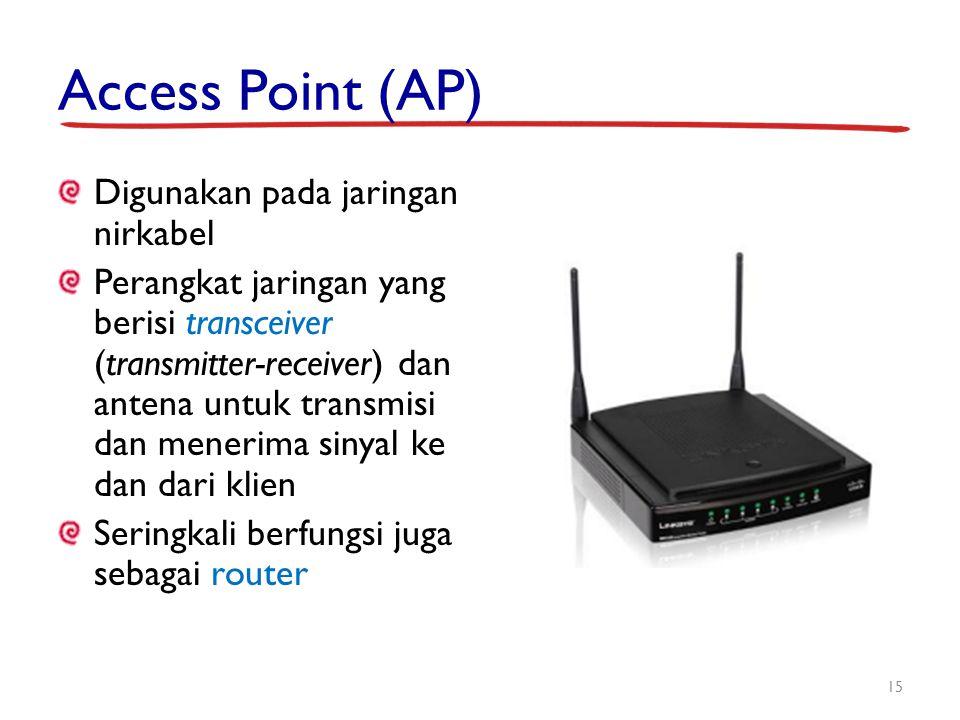 Access Point (AP) Digunakan pada jaringan nirkabel Perangkat jaringan yang berisi transceiver (transmitter-receiver) dan antena untuk transmisi dan me