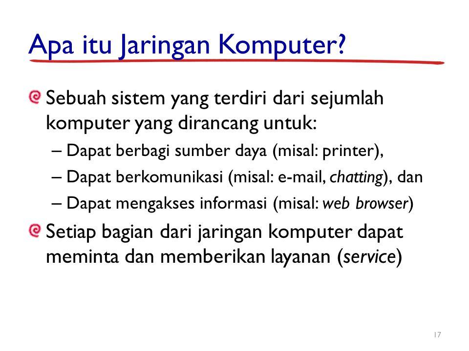 Apa itu Jaringan Komputer? Sebuah sistem yang terdiri dari sejumlah komputer yang dirancang untuk: – Dapat berbagi sumber daya (misal: printer), – Dap