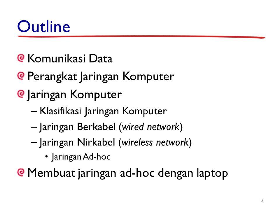 Outline Komunikasi Data Perangkat Jaringan Komputer Jaringan Komputer – Klasifikasi Jaringan Komputer – Jaringan Berkabel (wired network) – Jaringan N